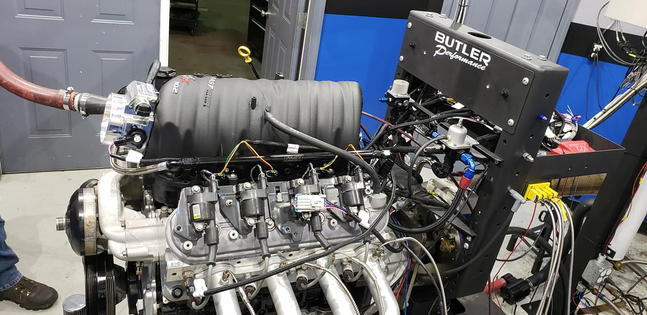 Picture of the engine on the dyno