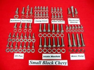 Butler LS - Butler BLS-H-5644 - GM V8 Stainless Steel Engine Hex Bolt Kit (Non EFI)