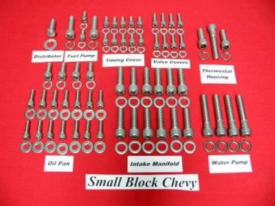 Butler LS - Butler BLS-A-5645 - GM V8 Stainless Steel Engine Allen Bolt Kit (Non EFI)