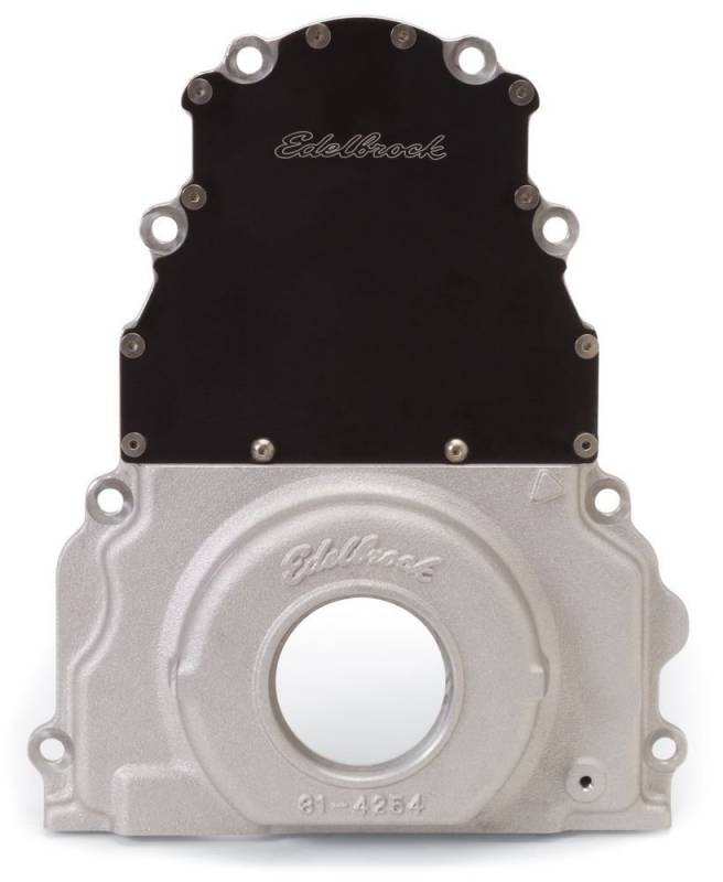 Edelbrock - Edelbrock 2 Piece Timing Cover, Fits LS1, LS2, 4.8, 5.3, 6.0, With with Rear Mounted Cam Sensor, Each