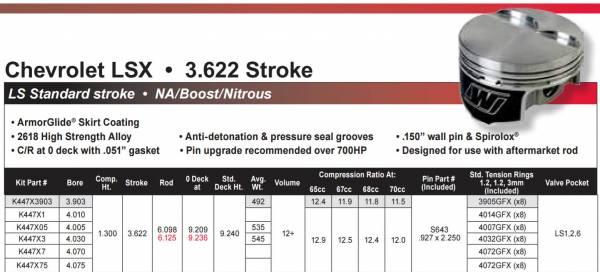 Wiseco - WisecoLS1, LS2, LS3, LS6, LS7, L92, 6.0L, 3.622 Stroke, +12cc Dome Top Piston Kit, Choose Bore, Set/8