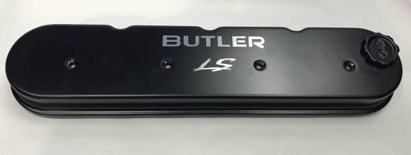 Butler LS - Butler LS Short Valve Covers Powder Coated Black with Laser Etched Logo, Set 2